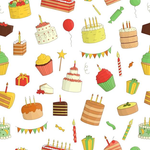 Nahtloses muster von farbigen kuchen mit kerzen. geburtstag wiederholen hintergrund. bunte wiederholungsbeschaffenheit von süßen backwaren. helle zeichnung von geburtstagskuchen, süßigkeiten, ballonen, geschenken, konfettis Premium Vektoren