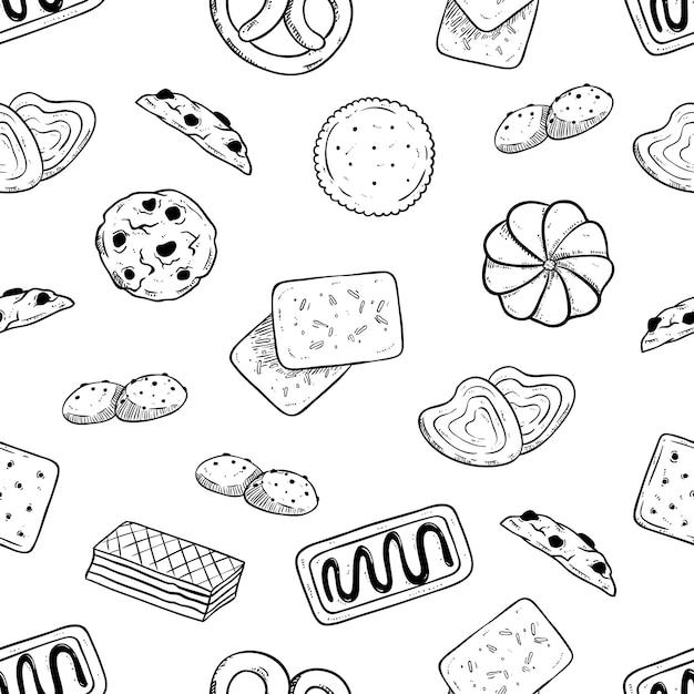 Nahtloses muster von geschmackvollen keksen mit der hand gezeichnet oder skizzenart Premium Vektoren