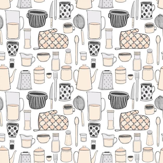 Nahtloses muster von gezeichneten illustrationen des küchengeschirrs und der geräte hand. Premium Vektoren