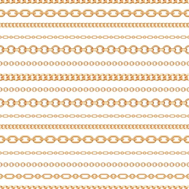 Nahtloses muster von goldkettenlinien auf weißem hintergrund Premium Vektoren