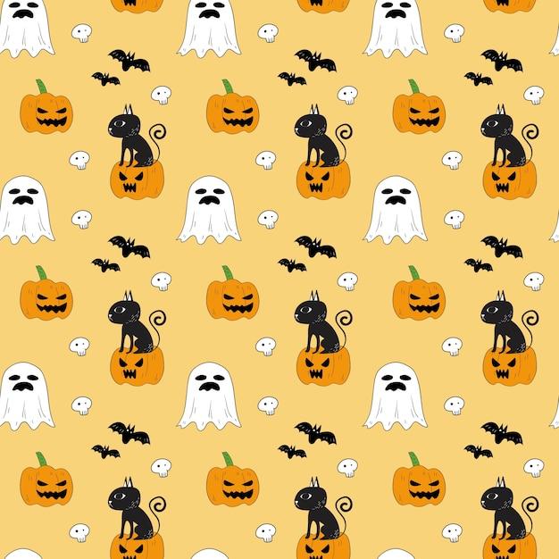 Nahtloses muster von halloween. Premium Vektoren