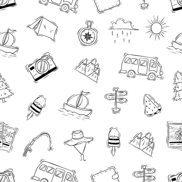 Nahtloses muster von kampierenden ikonen mit gekritzel oder hand gezeichneter art Premium Vektoren