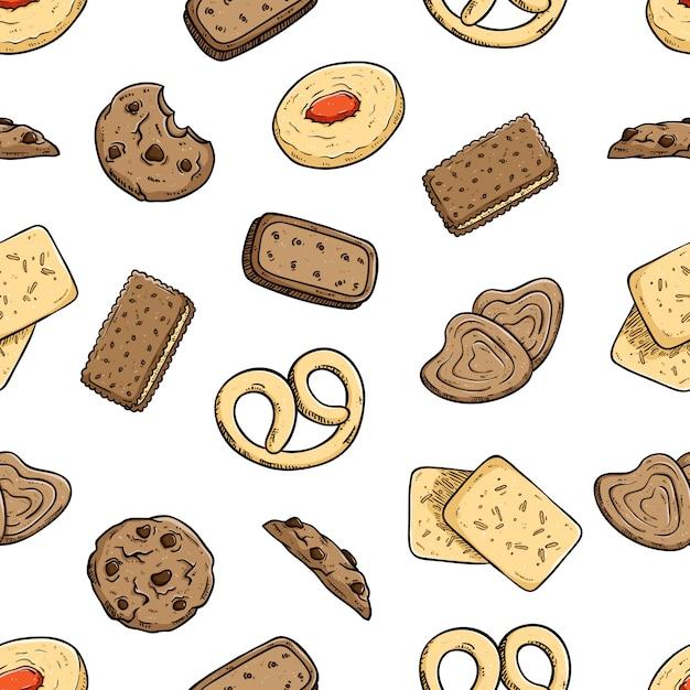 Nahtloses muster von köstlichen keksen oder von plätzchen mit farbiger gekritzelart Premium Vektoren