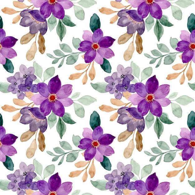 Nahtloses muster von lila aquarellblumen Premium Vektoren