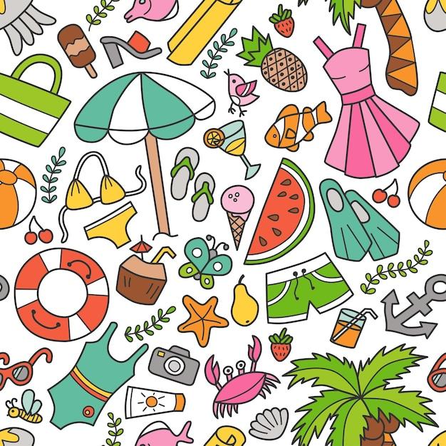 Nahtloses muster von meer und sommer im doodle-stil. handgemalt Premium Vektoren