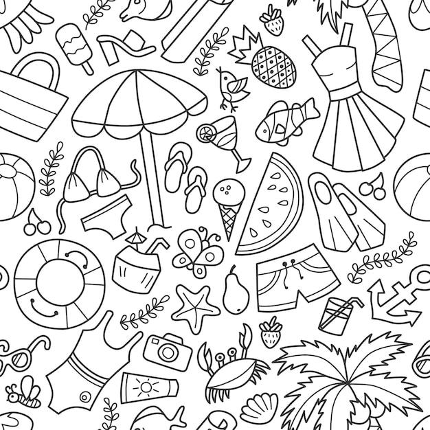 Nahtloses muster von meer und sommer im doodle-stil. handgemalt. Premium Vektoren