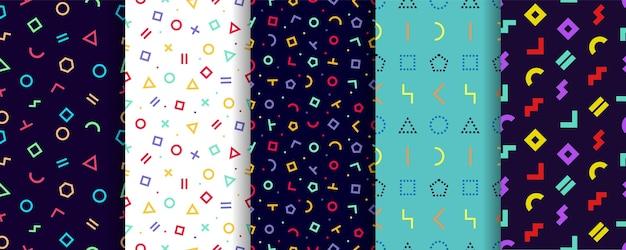 Nahtloses muster von memphis. satz von fünf geometrischen texturen. geschenkpapier design. Premium Vektoren