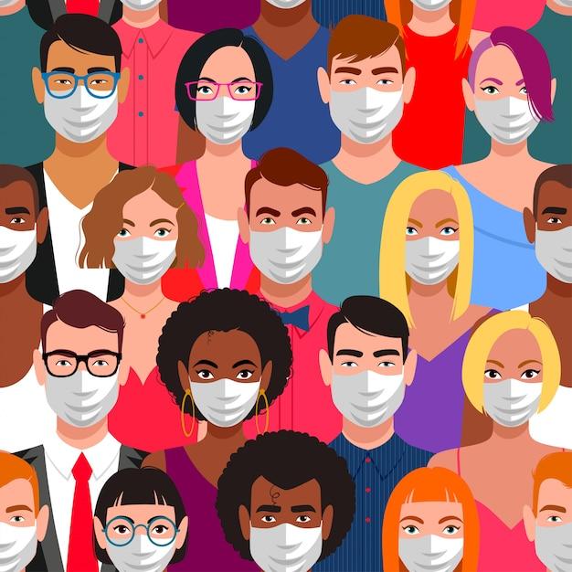 Nahtloses muster von menschen mit schutzmasken Premium Vektoren