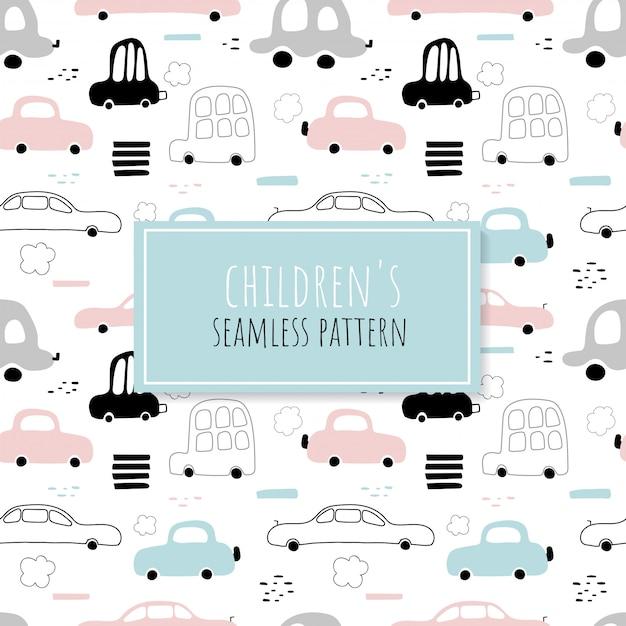 Nahtloses muster von niedlichen autos Premium Vektoren