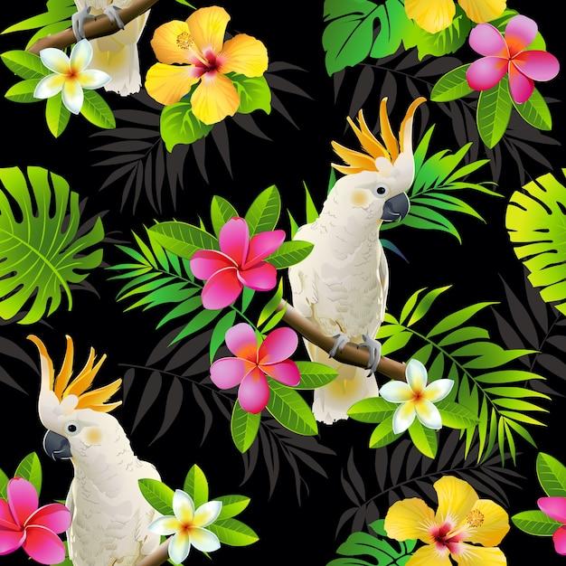 Nahtloses muster von papageien und von tropischen blättern Premium Vektoren
