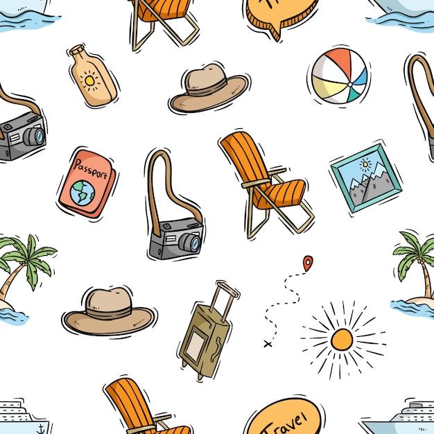 Nahtloses muster von reiseelementen mit farbiger gekritzel-art Premium Vektoren