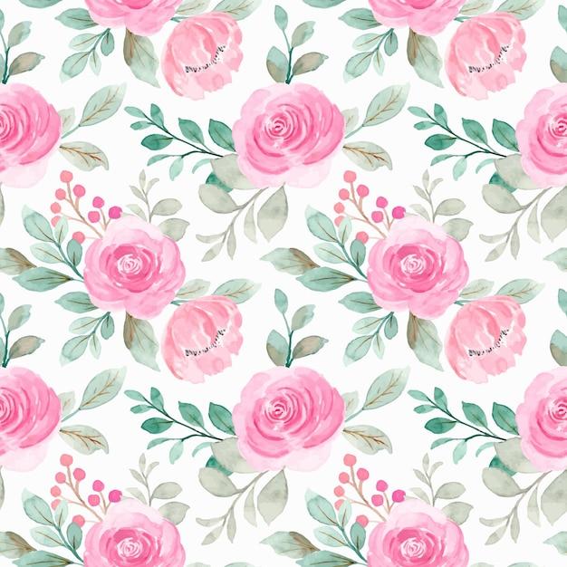 Nahtloses muster von rosa aquarellblumen Premium Vektoren