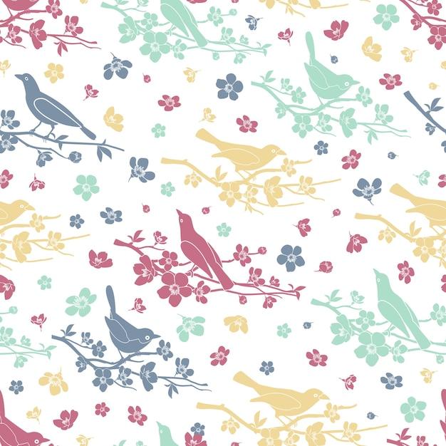 Nahtloses muster von vögeln und zweigen. blume und zweig, dekoration liebe und romantik, design blumen, vektor-illustration Kostenlosen Vektoren