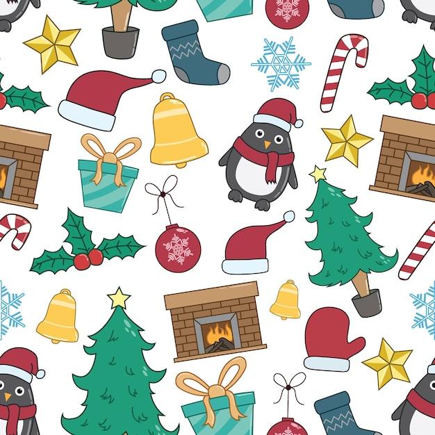 Nahtloses muster von weihnachtselementen oder von ikonen mit bunter und gekritzel-art Premium Vektoren