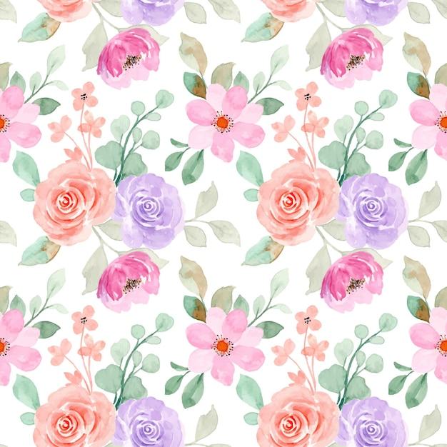Nahtloses muster weiches rosa orange blumen mit aquarell Premium Vektoren