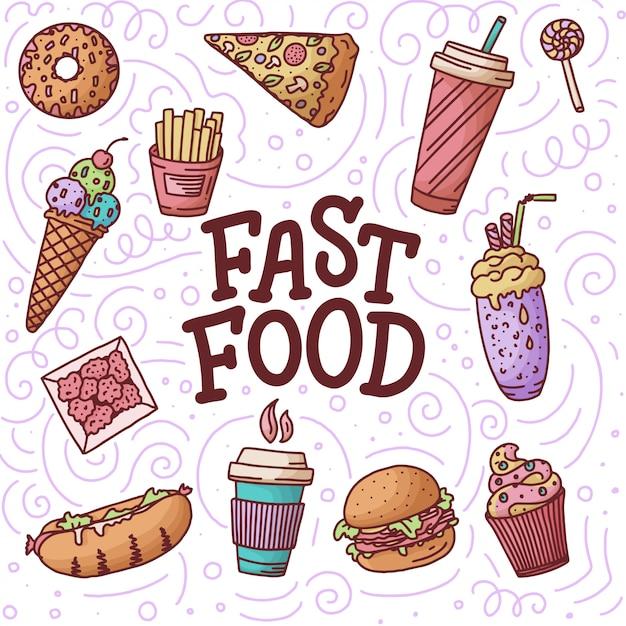 Nahtloses muster. weinleseillustration mit fast-food-gekritzelelementen und beschriftung auf hintergrund für konzept Premium Vektoren