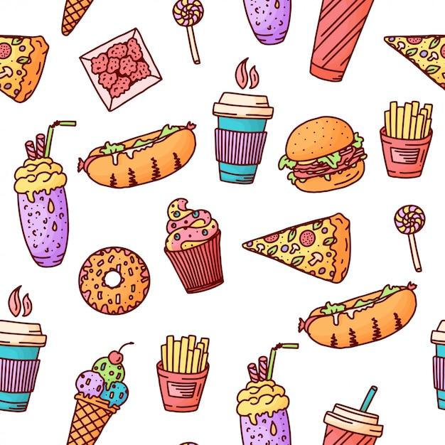 Nahtloses muster. weinleseillustration mit fast-food-gekritzelelementen Premium Vektoren