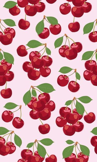 Nahtloses musterbündel kirschfrüchte Premium Vektoren