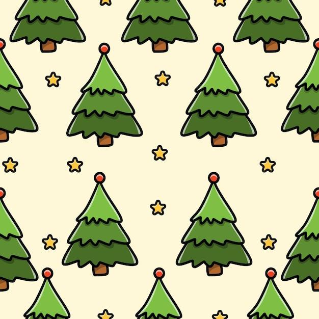 Nahtloses musterdesign des weihnachtsbaumkritzels Premium Vektoren