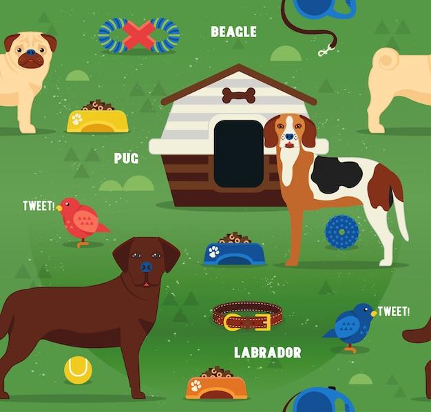 Nahtloses musterdesign mit reinrassigen hunden. Premium Vektoren
