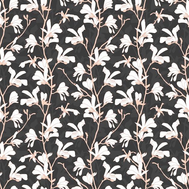 Nahtloses musterfrühlingsdesign mit blumen. hand gezeichnete botanische illustration. Premium Vektoren