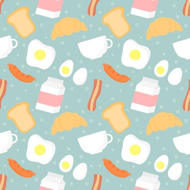 Nahtloses musterfrühstückslebensmittel und -getränke Premium Vektoren