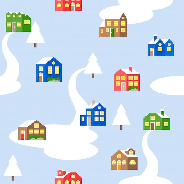 Nahtloses musterhaus oder -häuschen im winterthema Premium Vektoren