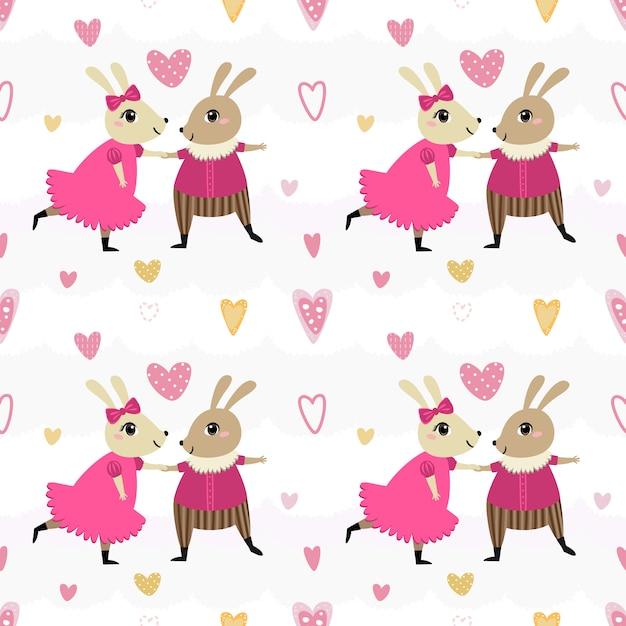 Nahtloses musterpaar-kaninchentanzen. Premium Vektoren