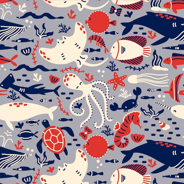 Nahtloses musterset für meereslebewesen. hand gezeichnete gekritzel verschiedene see- und ozeanfischhaie schildkröten oktopusauster-stachelrochen-seestern. tiere in der natur der natur. Premium Vektoren