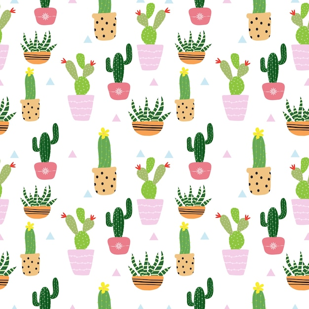 Nahtloses niedliches kaktusmuster Premium Vektoren