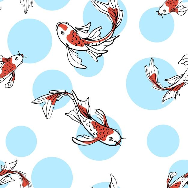 Nahtloses orientalisches muster mit japanischen karpfenkoi. ein symbol für viel glück. asiatischer hintergrund, illustration. natürliches stoffdruckdesign. Premium Vektoren