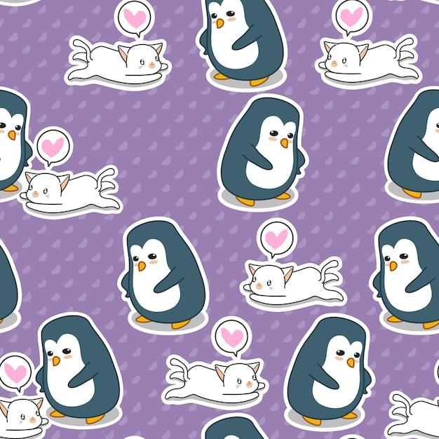 Nahtloses pinguin- und katzenmuster. Premium Vektoren