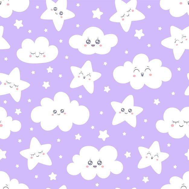 Nahtloses purpurrotes lächelndes stern- und wolkenmuster für babypyjamagewebe. Premium Vektoren