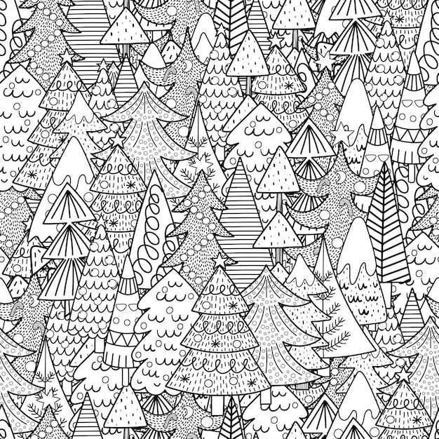 Nahtloses schwarzweiss-muster der weihnachtsbäume. winter malvorlagen. Premium Vektoren