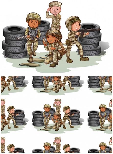 Nahtloses soldatmuster getrennt auf weiß Kostenlosen Vektoren