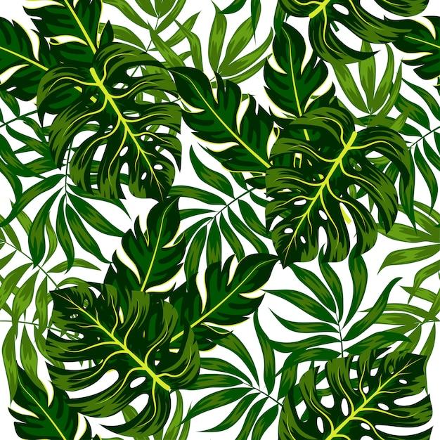 Nahtloses sommermuster mit tropischen blättern und pflanzen Premium Vektoren