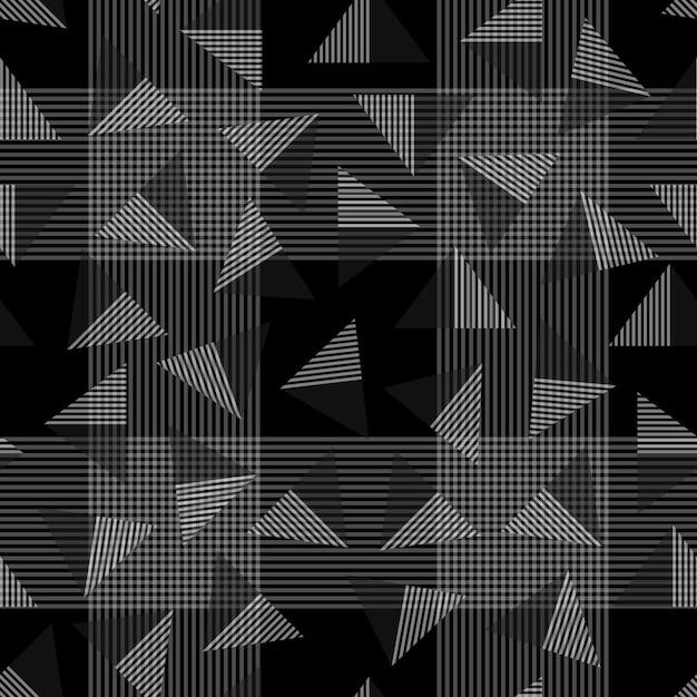 Nahtloses streifenmuster auf schwarzem hintergrund mit dreieck Premium Vektoren
