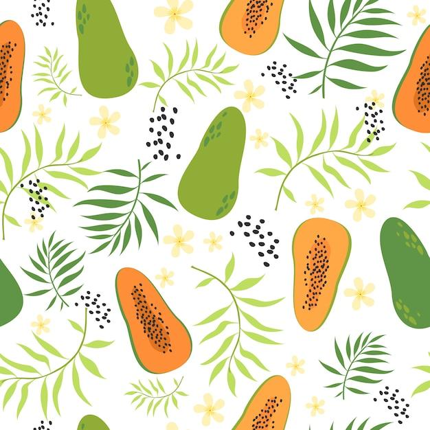 Nahtloses tropisches muster mit papaya Kostenlosen Vektoren
