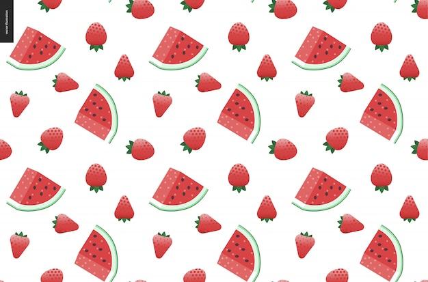 Nahtloses vektormuster der erdbeeren und der wassermelone Premium Vektoren