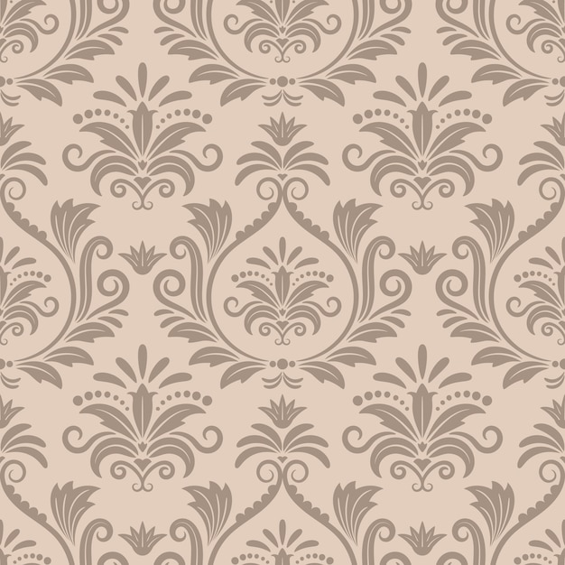 Nahtloses vektormuster des barock. retro-textil des dekorativen entwurfs, kurve der viktorianischen beigekurve Kostenlosen Vektoren