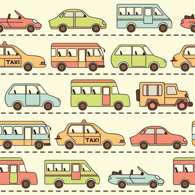 Nahtloses vektormuster mit autos und bussen Premium Vektoren