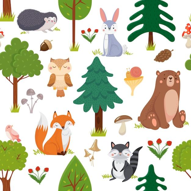Nahtloses waldtiermuster. sommerwald niedlichen tier- und waldblumenkarikaturvektorhintergrund Premium Vektoren