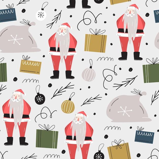 Nahtloses weihnachtsmuster. geschenktüte, weihnachtsmann, geschenke, dekorationen, weihnachtsbaumzweige. Premium Vektoren