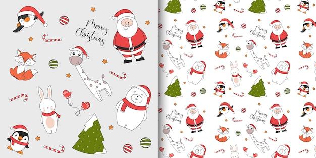 Nahtloses weihnachtsmuster mit pinguin-eisbär-kaninchenfuchs-giraffe-weihnachtsmann und weihnachtsbaum Premium Vektoren