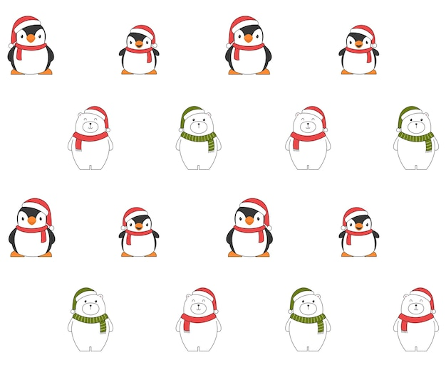 Nahtloses weihnachtsmuster mit pinguinen und eisbären. Kostenlosen Vektoren