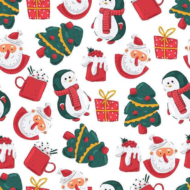Nahtloses weihnachtsmuster mit santa kopf, pinguin, baum, geschenkbox und pudding auf einem weißen hintergrund. Premium Vektoren