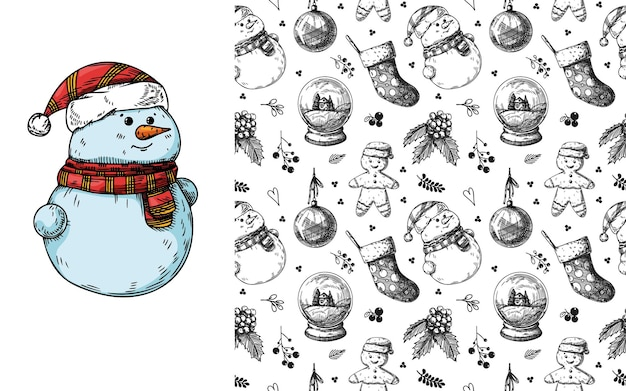 Nahtloses weihnachtsmuster. spielzeug, schneemann, kranz und andere weihnachtselemente. skizzieren Premium Vektoren