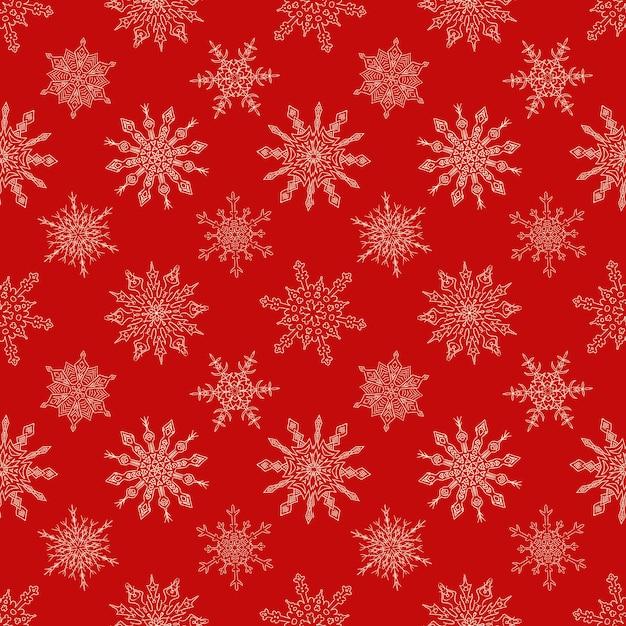 Nahtloses weihnachtsrotes muster mit gezogenen schneeflocken Premium Vektoren