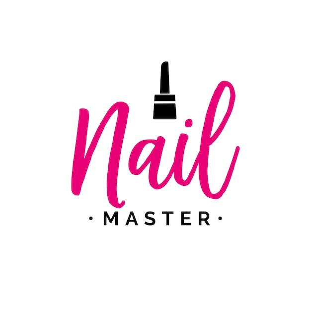 Nail master schriftzug mit polnisch Premium Vektoren