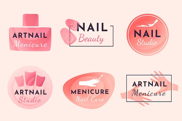Nails art studio logo sammlung design Kostenlosen Vektoren